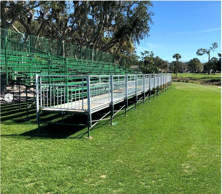 spectator stands at harbour town golf links, hilton head island, sc