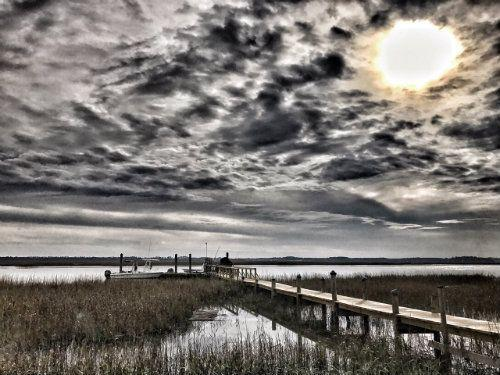 cloudy skies over Hilton Head Island canal