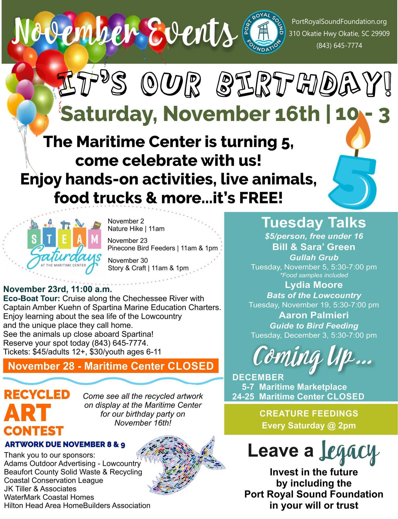 Maritime Center November 2019 events